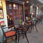Nice outdoor cafe arrangement to watch the activity.