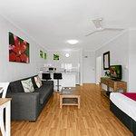 Beautiful  spacious studio apartments bringing the tropics inside your room.