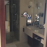 Vanity with shower