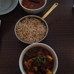Chicken south indian garlic chilli, pilau rice and mixed vegetable curry