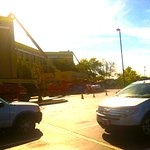 Duelling cranes in Hampton parking lot