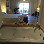 jacuzzi tub in room and out