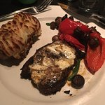 Blackened Sirloin, roasted peppers and mushrooms and twice baked potato