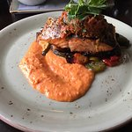 salmon with red pepper and veg