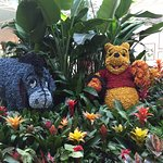 Eyeore and Winnie the Pooh made out of dried flower blossoms.
