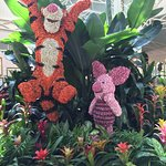 Tigger and Piglet made out of dried flower blossoms.