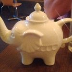 The darling teapot filled with hot Jasmine Tea