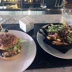 Happy hour burger + duck fries