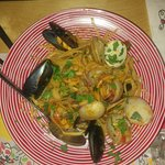 Pasta with a seafood mix