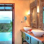 Bathroom looking out onto private plunge pool