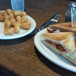 Catfish sandwich and BLT with plenty of tots