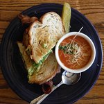 Brunch delicious tomato soup and turkey sandwich