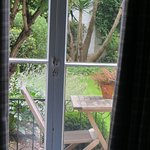 View through French doors into the garden.