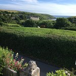 View from room with sea and Manorbier Castle in view