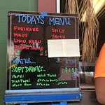 Daily menu at Poke Market take-out window
