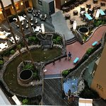 Looking down at the lobby from our room