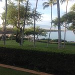 Grassy lawn just beyond our patio--view of the massage pavilion & toward the beach