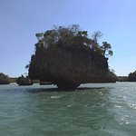Mushroom shaped island in Moramba Bay on snorkeling cruise