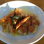 Pumpkin seed crusted scallops with shaved carrots/fennel, acorn squash and pumpkin sauce.