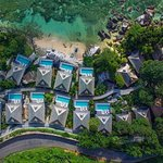 Aerial view of the private pool villas