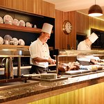 Chefs prepare daily buffet lunch at Lakeside Grill and Bar, Killyhevlin Lakeside Hotel
