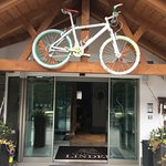 Bike-friendly hotels in Val Gardena are designated by old, painted mountain bikes.
