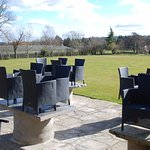 Outdoor seating and bowling lawn