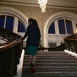 Grand staircase up to the rooms.