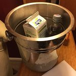 Our personal drinks put in an ice bucket while we were out