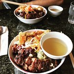 Vermicelli with spring roll and broiled pork