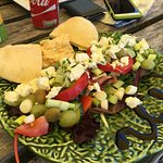 my greek salad at the cliff top caféon a sunny day