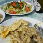 fusilli with zucchini and ravioli with lemon and orange (my personal favorite)