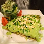 Green Heaven - big spinach crepe stuffed with ricotta made with almonds, cashew nuts and tofu