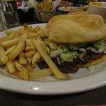 Sopapilla burger and bland fries