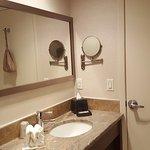 Shaving/Makeup Mirror, hair dryer is on the back of the door.