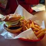 Jalapeno Burger with fries.