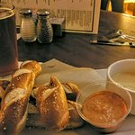 Dragonmead Corktown Red local beer and baked pretzel sticks with mustard and beer cheese dip