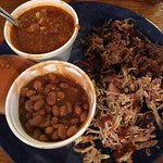 Mixed BBQ plate with baked beans and Brunswick stew.