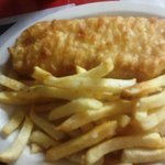 Order of Fish and Chips from Little Taste of Britain. The fish is much bigger than it looks here