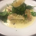 Cream poached smoked haddock, smokey bacon cabbage, chilli &a garlic wilted spinach