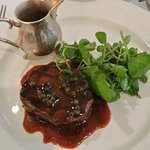 Grilled fillet steak, green peppercorn sauce