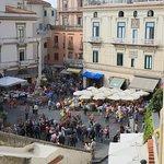 da Gemma's balcony overlooks the busy square