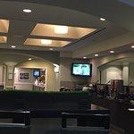 Lobby. Breakfast area and elevator.
