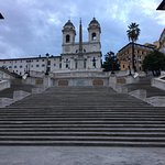 The Spanish Steps 7.15am - normally covered with tourists sitting on them.