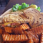 Patty Melt with sweet potato fries