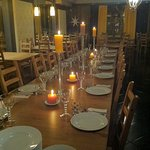 our dining room table setting for large parties