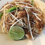 Lap chicken in super spicy for me, delicious pad Thai, Thai fish cakes dipping  sweet chilli sau