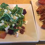 Beet, goat cheese and arugula salad and crispy fontina cheese bites