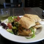 Fried Shrimp po'boy, with side salad and a glass of Chardonney on a beautiful Capitola afternoon