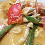 Panang Curry with chicken, made from homemade curry paste